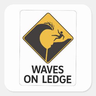 Wellen auf Leiste (2), Zeichen, Hawaii, US Quadratischer Aufkleber