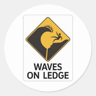 Wellen auf Leiste (2), Zeichen, Hawaii, US Runder Aufkleber