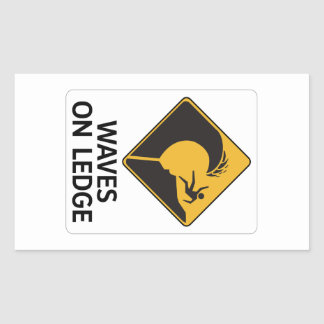 Wellen auf Leiste (2), Zeichen, Hawaii, US Rechteckiger Aufkleber