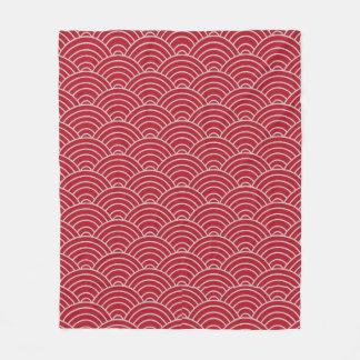 Wellen-Musterhochrotes Rot und Taupe Fleecedecke