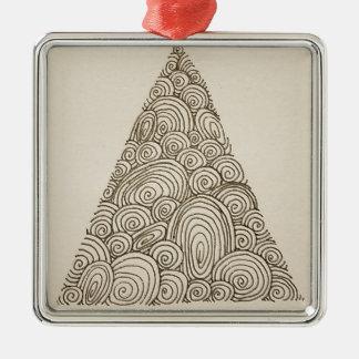 Wellen Quadratisches Silberfarbenes Ornament