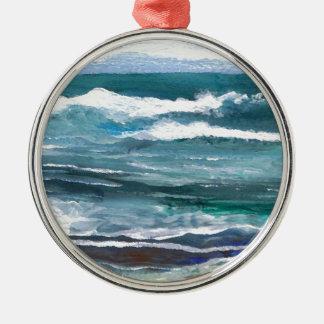 Wellen-Strand-Geschenke des Krickets des Meer- Rundes Silberfarbenes Ornament
