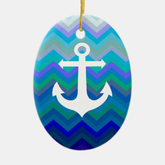 Wellen u. Anker Ovales Keramik Ornament