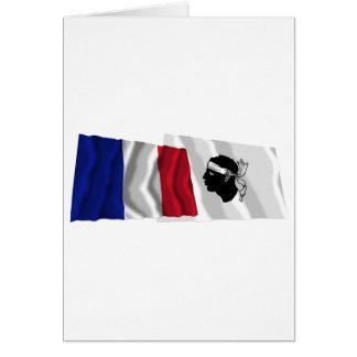Wellenartig bewegende Flaggen Frankreichs u. Corse Karte