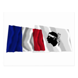 Wellenartig bewegende Flaggen Frankreichs u. Corse Postkarte