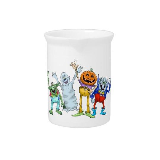 Wellenartig bewegende Halloween-Cartoongeschöpfe, Getränke Krug