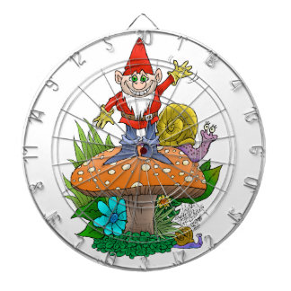 Wellenartig bewegender Gnome auf einer Dartscheiben