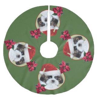 Welpen-Baumrock WeihnachtsShih Tzu Polyester Weihnachtsbaumdecke