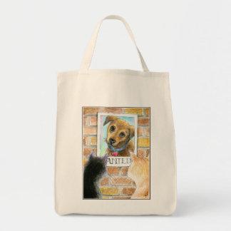 """Welpenhund, Katzen, """"wollte"""" Plakat-Tasche Einkaufstasche"""