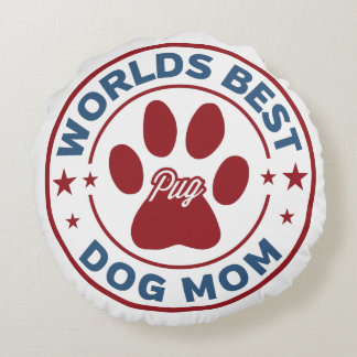 Weltbester Mamma-Mops-Tatzen-Druck Rundes Kissen