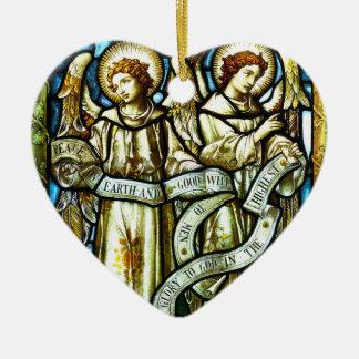 Weltfrieden-Engels-Weihnachtsverzierung Keramik Herz-Ornament