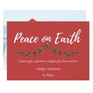Weltfrieden-rote Stechpalmen-Foto-Weihnachtskarte 12,7 X 17,8 Cm Einladungskarte