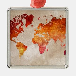 Weltkarte 13 quadratisches silberfarbenes ornament