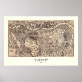 Weltkarte 1507 Martins Waldseemuller Poster