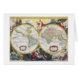 Weltkarte, Anfang des 18. Jahrhunderts (farbiger Grußkarte