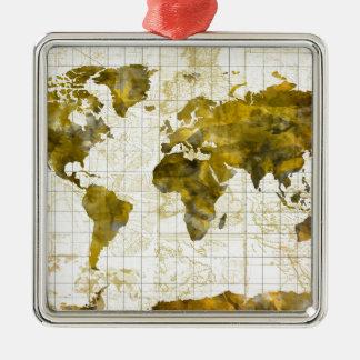 Weltkarte-Aquarell Sepia Silbernes Ornament
