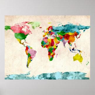 Weltkarte-Aquarelle Poster