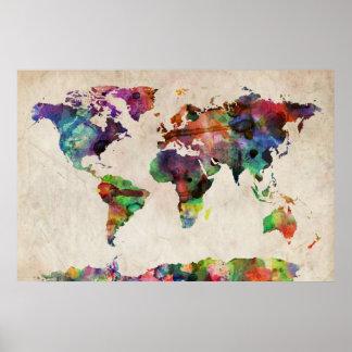 Weltkarte-städtisches Aquarell Poster
