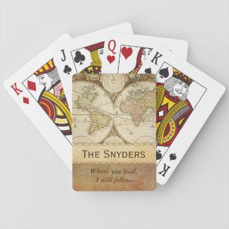 """Weltkarte """"wo Sie führen… """" Spielkarten"""