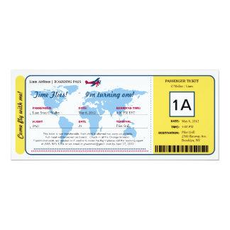 Weltkarten-Geburtstags-Boarding-Durchlauf-Karte 10,2 X 23,5 Cm Einladungskarte
