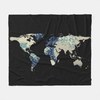 Weltkarten-Silhouette - die große Welle weg von Fleecedecke