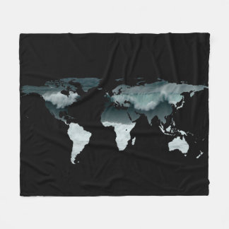 Weltkarten-Silhouette - zusammenstoßende Wellen Fleecedecke