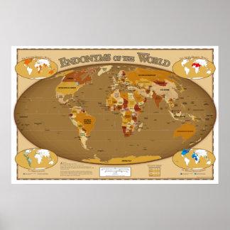 Weltländer in ihrer lokalen Sprache (Endonyms) Poster