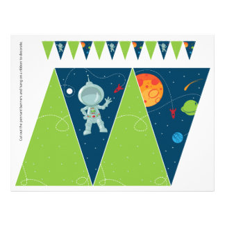 Weltraum-Geburtstags-Wimpel-Flaggen-Fahne Flyer