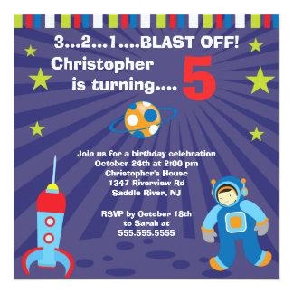 Weltraum-Kindergeburtstag-Party Einladung