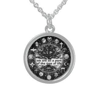 Weltreligions-Friedensbaum des Lebens Sterling Silberkette