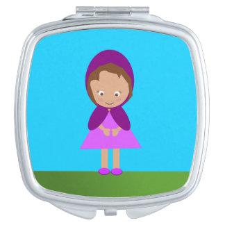 Wenig lila Reithauben-Quadrat-Vertrags-Spiegel Taschenspiegel