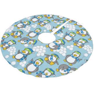 Wenig Pinguinhintergrund Polyester Weihnachtsbaumdecke