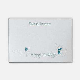 Wenig Winter Foxes die glücklichen Feiertage Post-it Klebezettel