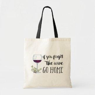 Wenn Sie den Wein vergaßen, gehen Budget Stoffbeutel