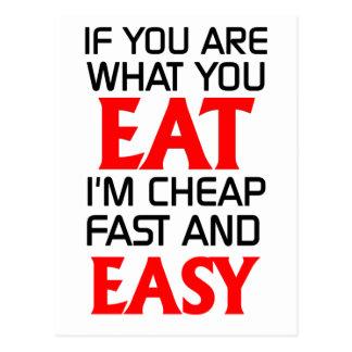 Wenn Sie sind, was Sie lustiges essen Postkarte