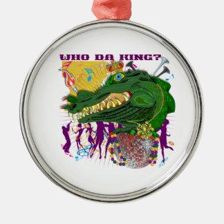 Wer DA-König? Louisiana Rundes Silberfarbenes Ornament