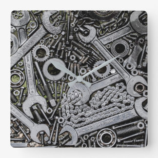Werkzeug-Garagen-Uhr Quadratische Wanduhr