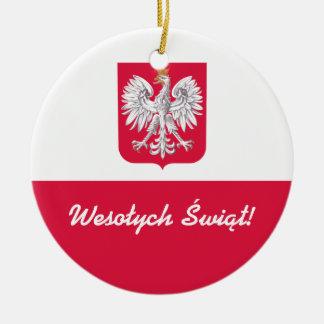Wesołych Świąt frohe Weihnachten auf Polnisch Rundes Keramik Ornament