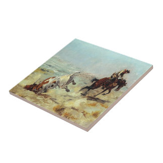 Western-Cowboy, der einen Ochsen Roping ist Fliese
