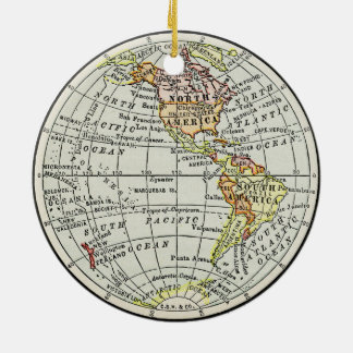 Western-Hemisphäre-Karten-Kugel-Reise-Kunst Keramik Ornament