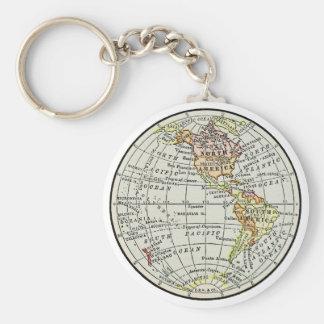 Western-Hemisphäre-Karten-Kugel-Reise-Kunst Schlüsselanhänger