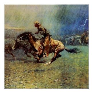 "Western-Kunst Frederic Remington ""der Ansturm"" Poster"