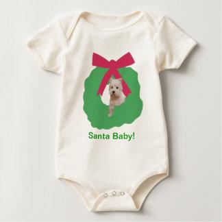 Westhochland-weißes Terrier-Feiertags-Kranz Baby Strampler