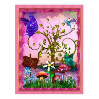 Whimsey arbeitet Fantasie-Kunst im Garten Postkarte