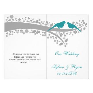 whimsy aqua lovebirds  folded Wedding program Flyer
