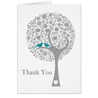 whimsy Baum danken blaue Lovebirds-Modhochzeit Karte