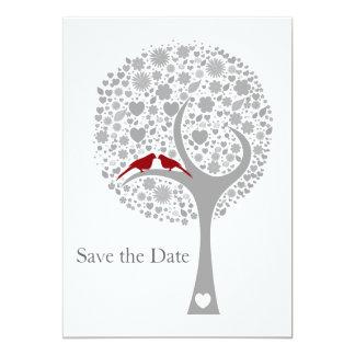 whimsy Baum rotes Lovebirds-Mod Save the Date 12,7 X 17,8 Cm Einladungskarte