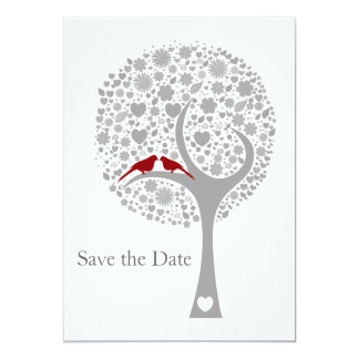 whimsy Baum rotes Lovebirds-Mod Save the Date Karte