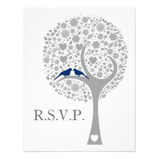 whimsy Baummarineblau Lovebirds, die uAwg wedding Ankündigungen