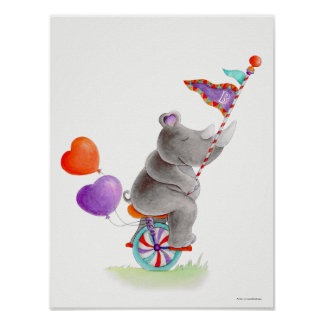 Whimsy Zirkus grauer Rhino auf einem Poster